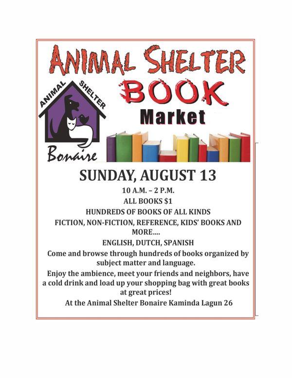 Boekenmarkt bij het dierenasiel Bonaire op zondag 13 augustus