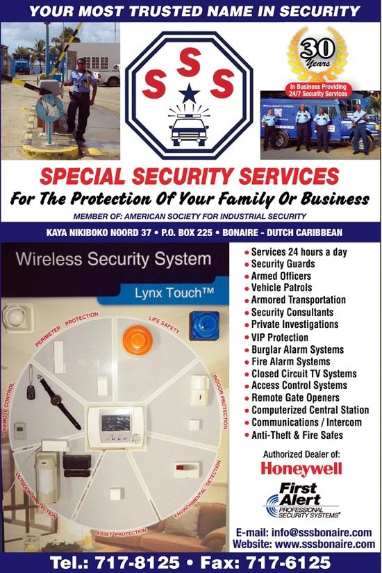 sss Special Security Services beveiliging van huis en bedrijf op Bonaire