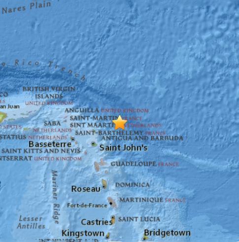 Krachtige aardbeving even buiten Kleine Antillen