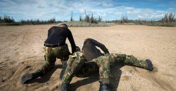 Militaire training op verschillende locaties op Bonaire
