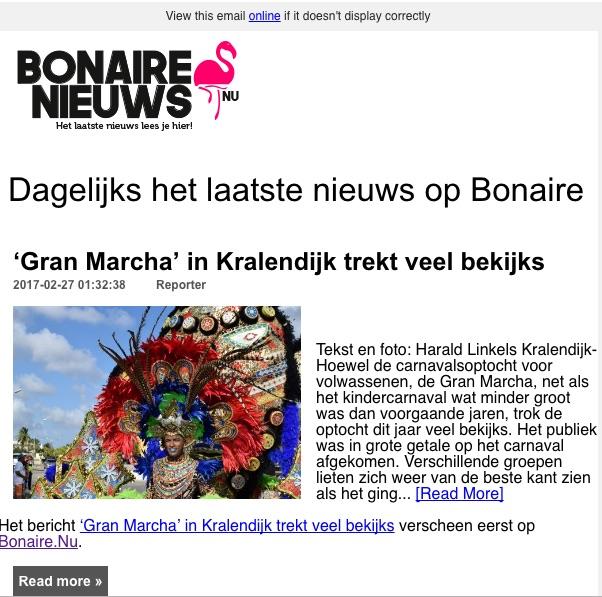 Elke dag het laatste nieuws van Bonaire ontvangen