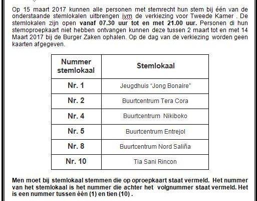 Men is vrij in het kiezen van een stemlokaal op 15 maart 2017
