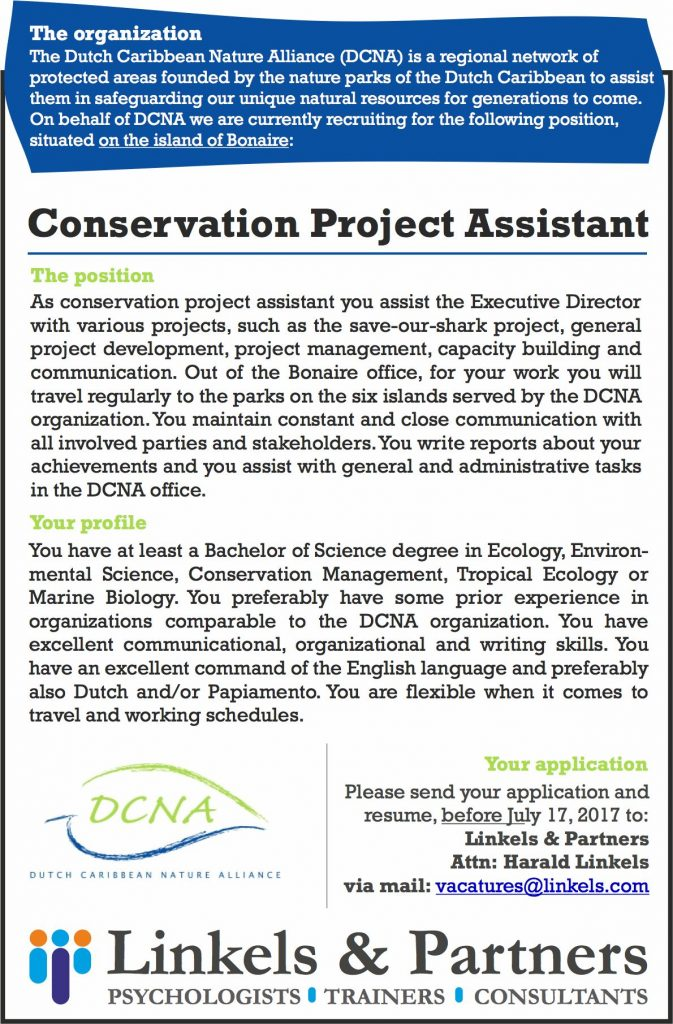Vacature Conservation Project Assistant