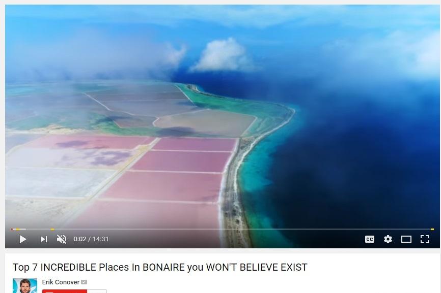 Promotievideo Bonaire uitgebracht door YouTube vlogger Erik Conover