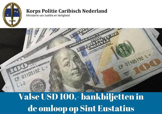Valse USD 100,- bankbiljetten in de omloop op Sint Eustatius