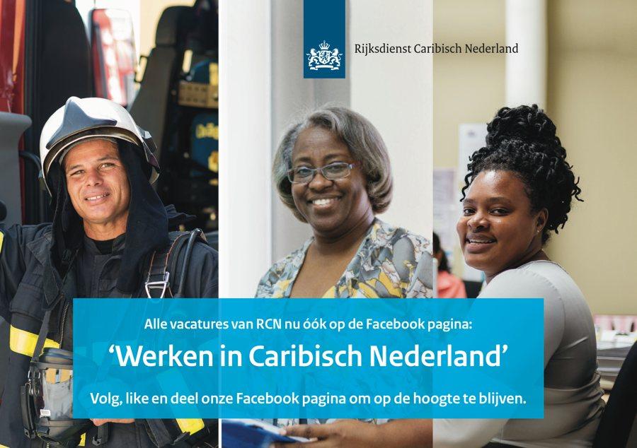 """Alle vacatures van RCN nu óók op de Facebook pagina """"Werken in Caribisch Nederland"""""""