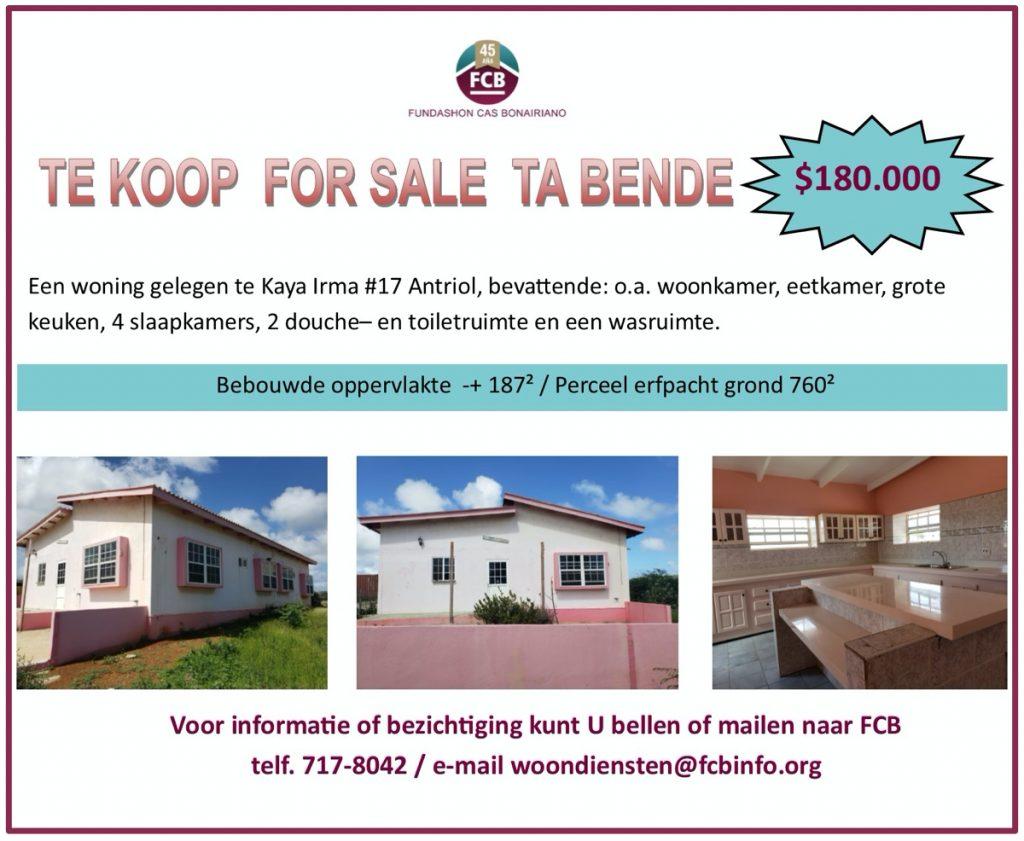 Huis te Koop op Bonaire bij FCB; Kaya Irma