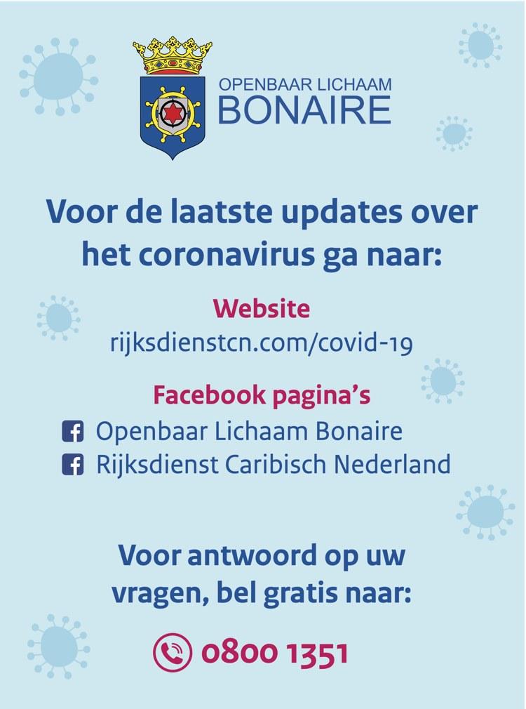 Bonaire update Coronavirus/COVID-19