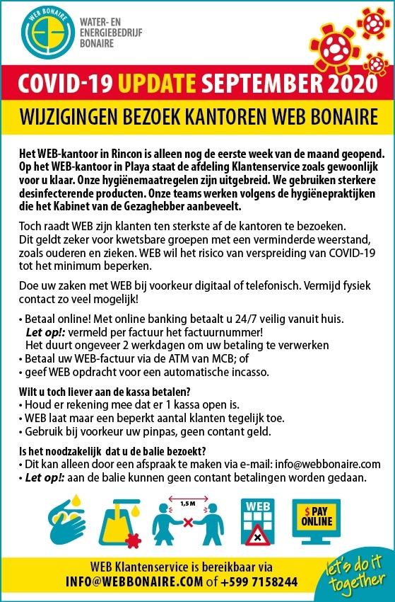 Wijzigingen bezoek kantoren WEB Bonaire