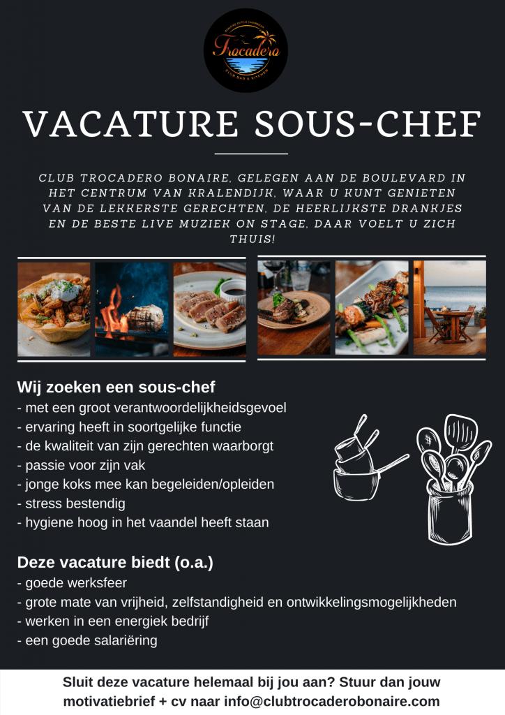 Vacature Sous-Chef Bonaire