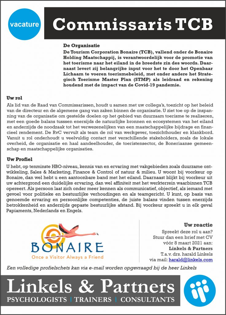 Vacature Commissaris Tourism Corporation Bonaire