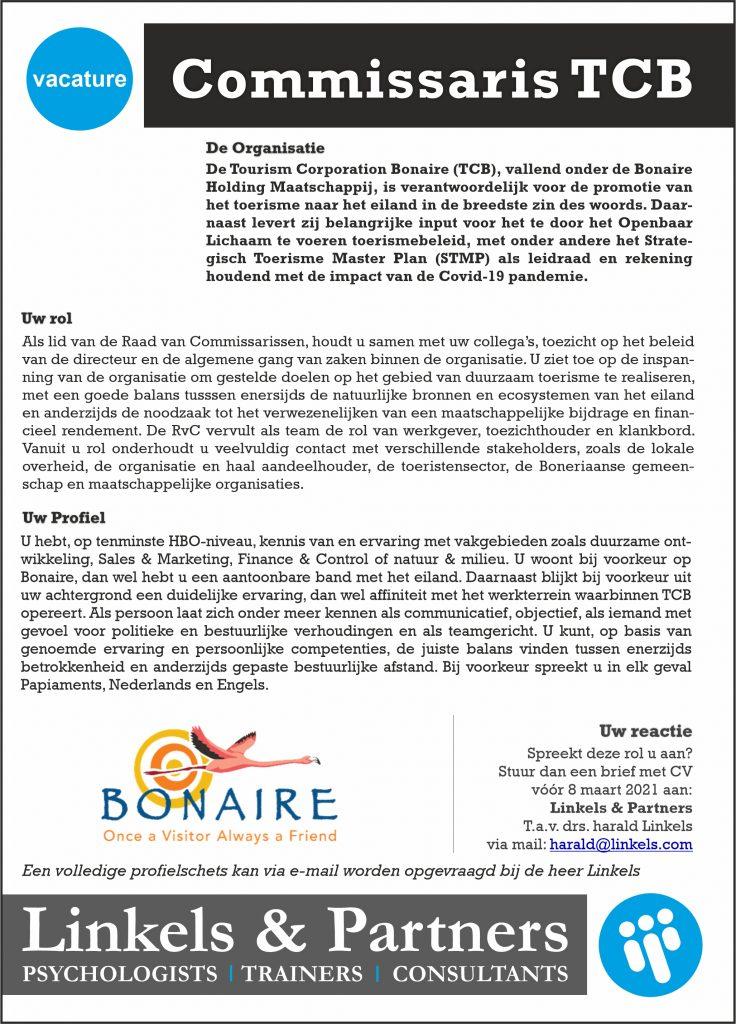 Vacature Commissaris Tourism Corporation Bonaire