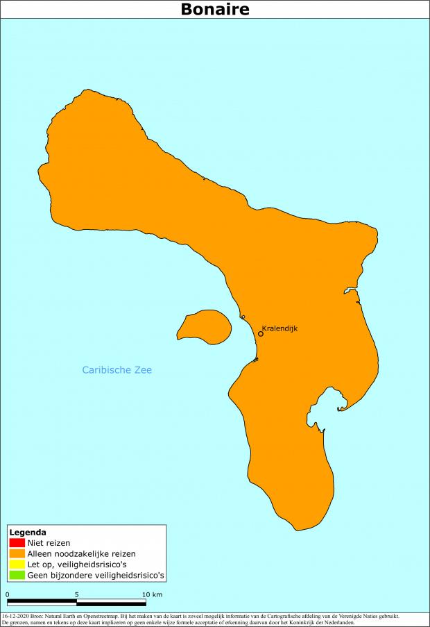 Bonaire blijft oranje voor reizigers uit Nederland