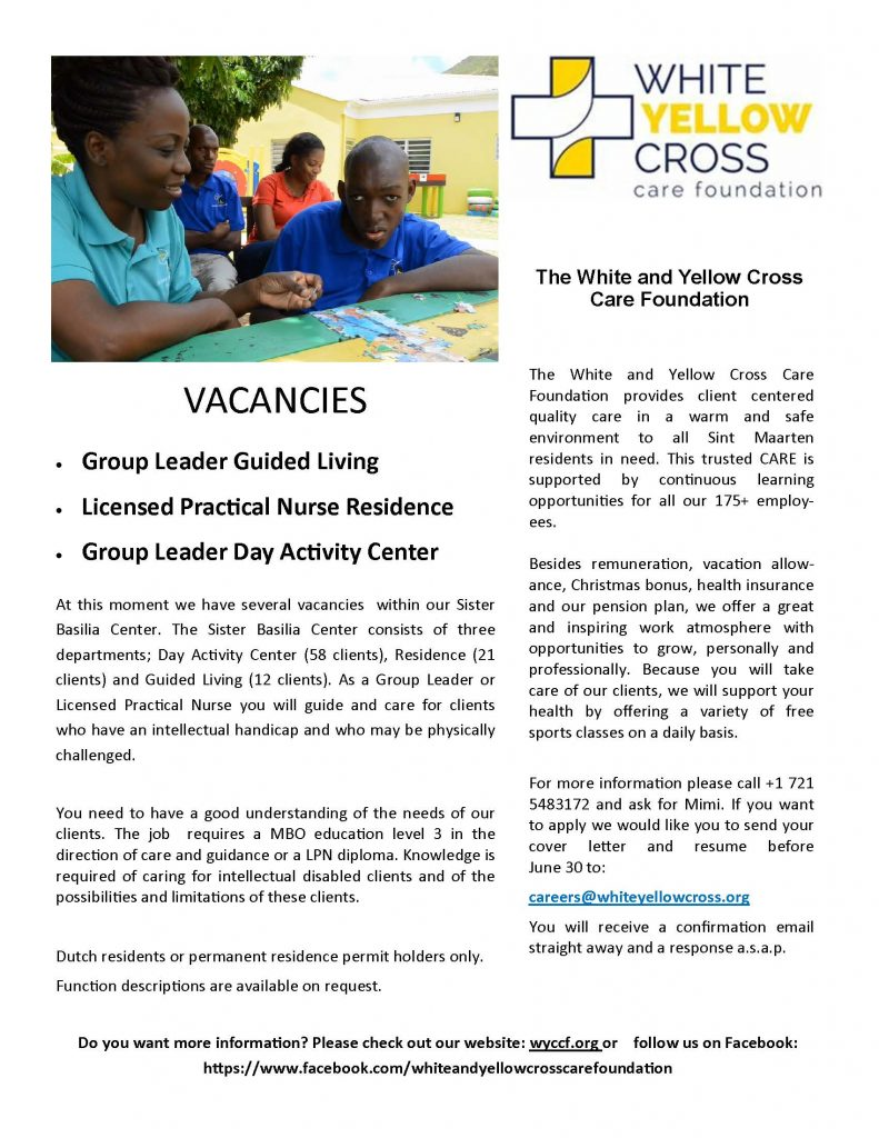 Vacatures White and Yellow Cross