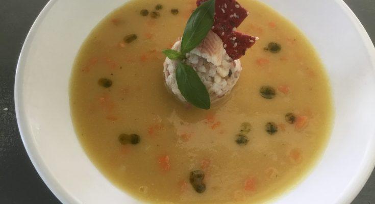 Koken met Corjan: Gele erwtensoep met gerookte paling truffel