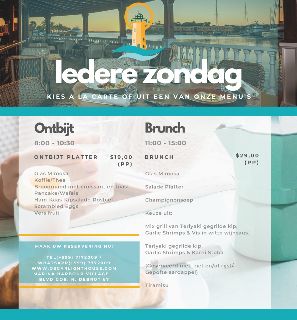 Iedere zondag ontbijt en brunch bij Oscar Lighthouse  Advertentie